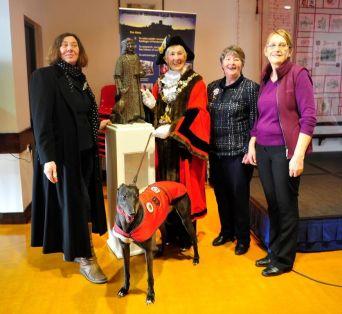 Sculptor Harriet Addyman with Pembroke Town Mayor Pauline Waters, town crier Rose Blackburn and Pembroke & Monckton History Society member Linda Asman