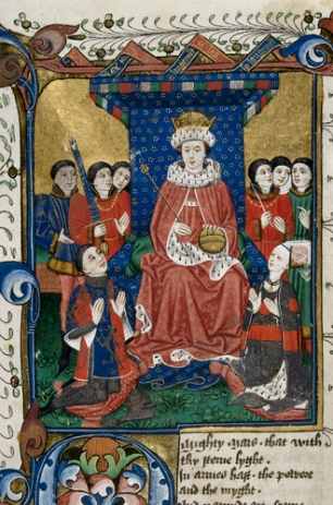 Detail of a miniature of a king enthroned surrounded by courtiers with Sir William Herbert and his wife, Anne Devereux kneeling before him, wearing clothes decorated with their coats of arms. (British Library)